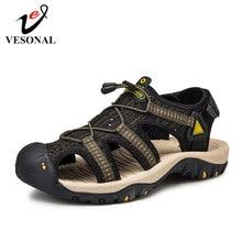 VESONAL на открытом воздухе летние сандалии мужская обувь 2021 большой размер: 46, 47 (Европа); Удобные сандалии мужские Пешие прогулки обувь высоко...