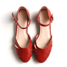 Women sandals oxford shoes summer vintage genuine leather wh