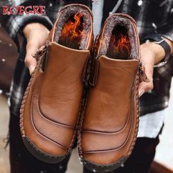 Novos Homens de inverno Manter Sapatos de Alta Qualidade Sapatos de Couro do Tornozelo dos homens Botas Homem Botas de Neve Confortáveis Mocassins Sapatos Tamanho Grande 48