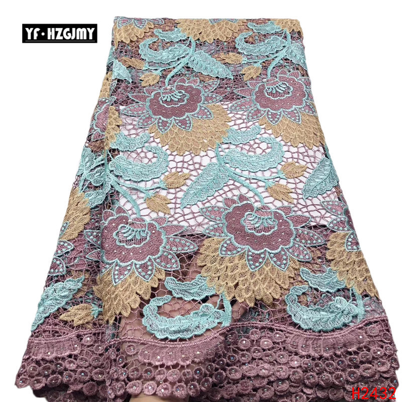 YF HZGJMY Nigeriano Africano Lace Tecidos de Alta Qualidade 2019 Bordado Tecidos de veludo Francês Rendas Projeto Especial Com Pedras A2691 - 3