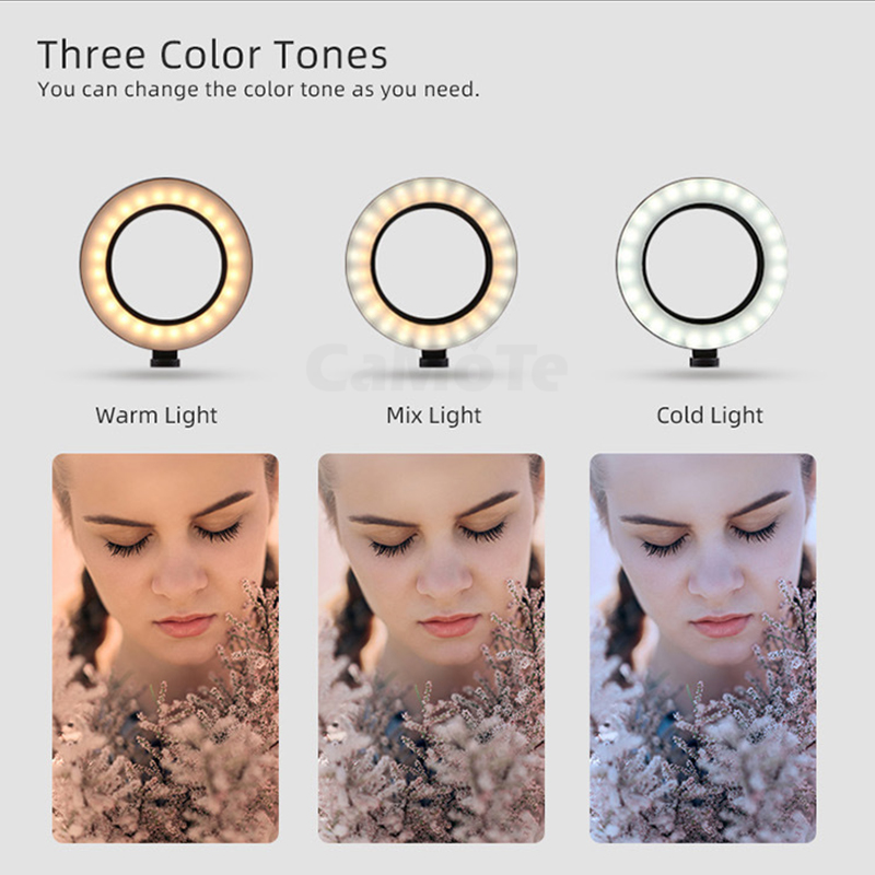 cheapest LED Ring Light 16cm 26cm Dimmable Selfie Ring Lamp Photographic Lighting With Tripod Phone Holder USB Plug Photo Studio
