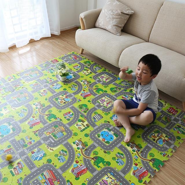 Alfombra de juegos para bebés, alfombra de juegos de espuma EVA, alfombra para niños, alfombras para desarrollar 30*30*1 alfombra de piso de baldosas de 9 piezas