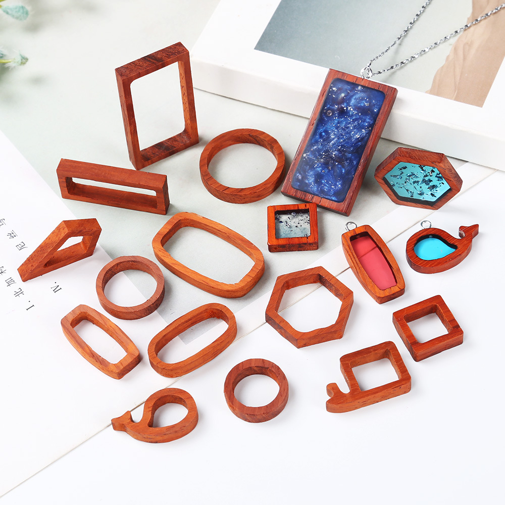 Wooden Open Bezel Various Frame Resin Art For Wood Resin Valentine's Day DIY Jewelry Epoxy Resin Craft Jewelry Findings