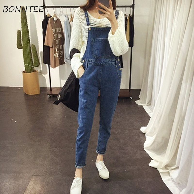 Jumpsuits Women Solid Simple Casual Trendy Pockets Harajuku High Waist Ladies Denim Strap Trousers Lovely Korean Womens Jumpsuit