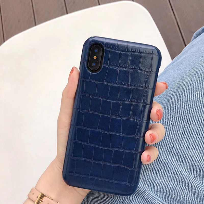 Bisnis Fashion High-End Buaya Kulit Case untuk iPhone X Max XS XR X 6 6S 7 8 plus Cover
