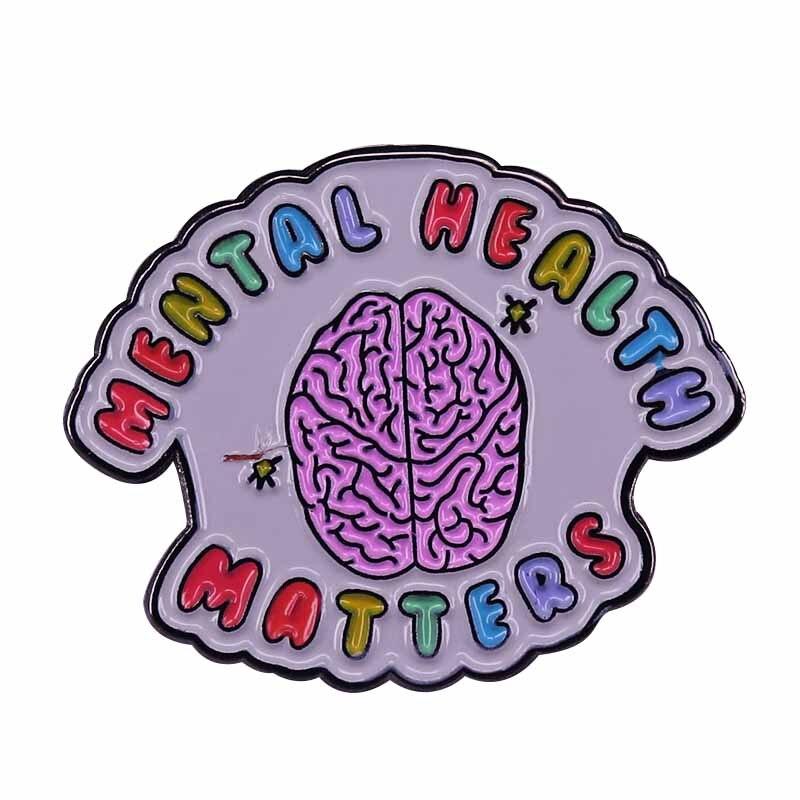 Questões de saúde mental (mini)-pino de esmalte macio pastel auto-cuidado ansiedade consciência broche positivo lembrete feliz!