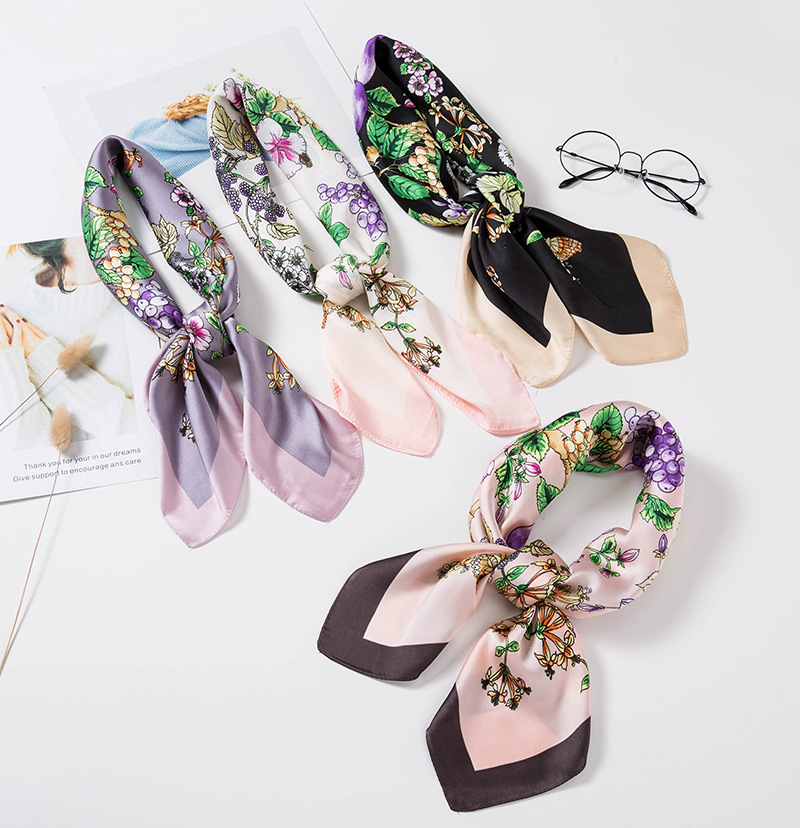 Small Bandana Head Scarf For Women Floral Printed Silk Satin Hair Scarfs Female 70*70cm Square Headband Neck Scarves For Ladies