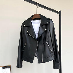 Nerazzurri Black leather biker jacket women long sleeve leather jacket women Soft moto jacket Motorcycle faux leather tops women