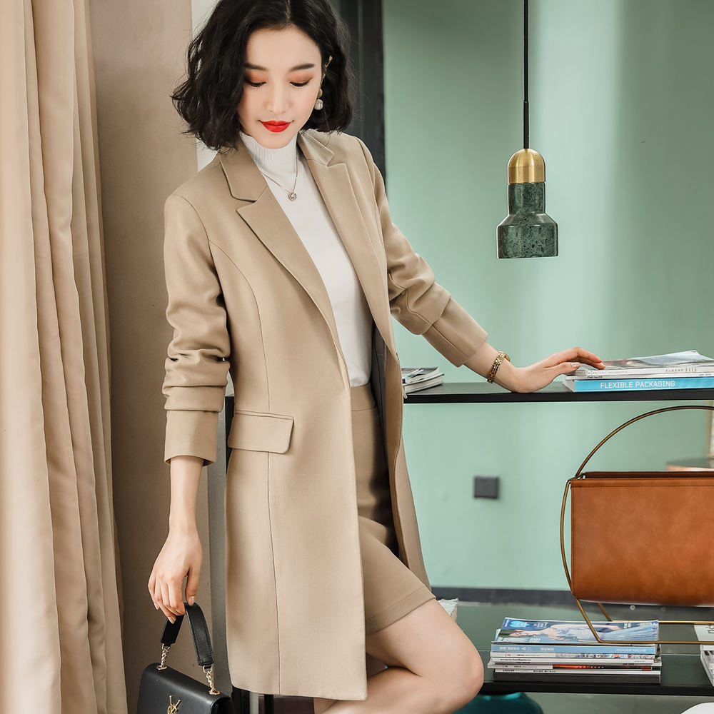 Ladies Elegant Office Wears Dress Suit Women Long Style Jacket Skirt M-4XL Plus Size Synthetic Fabric Work Suit f80808
