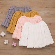 Newborn Kids Baby Girl Lantern Sleeve Tops Shirts Blouse Warm Round Neck Clothes lantern sleeve tied neck blouse