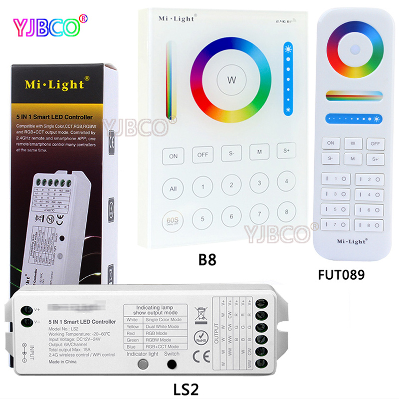 LS2 <font><b>5</b></font> IN <font><b>1</b></font> smart led controller DC12V~24V for single color /RGB/RGBW/RGB+CCT led strip,compatible FUT089/B8 Touch Panel remote image
