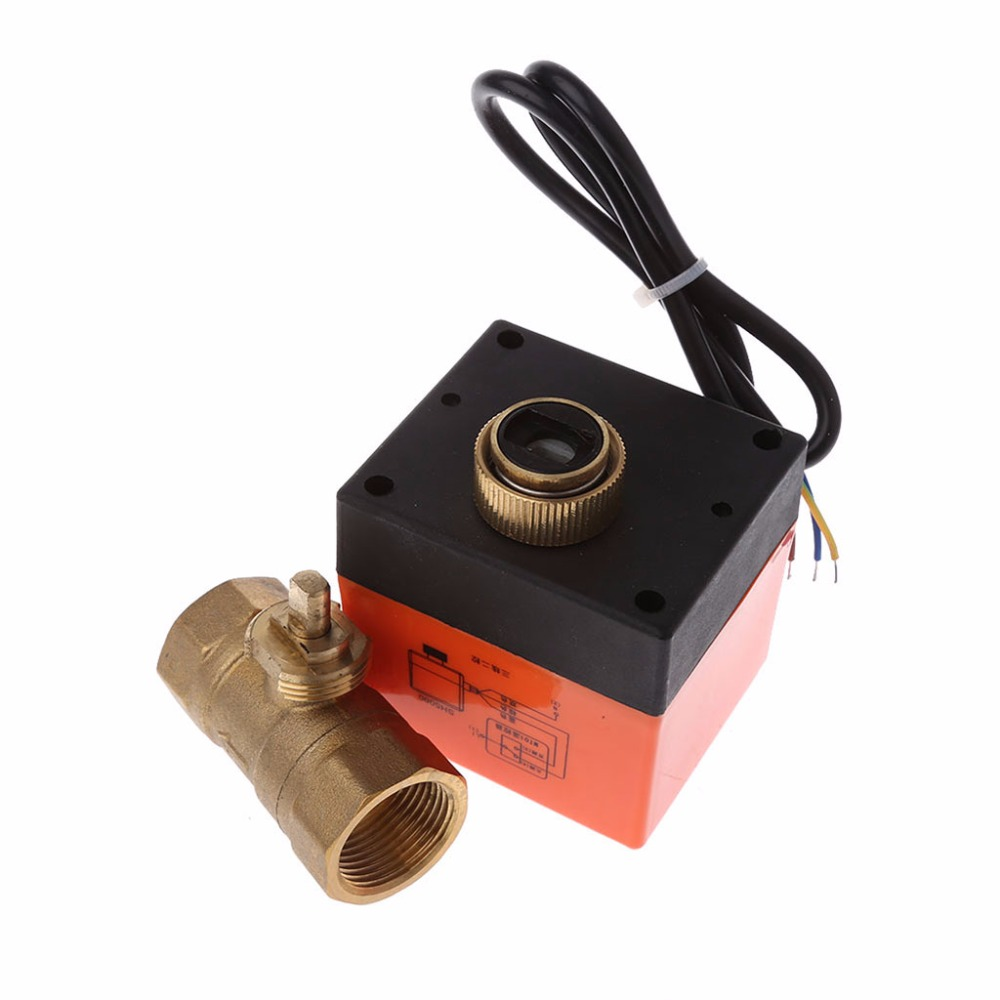 Image 4 - DN15 / DN20 / DN25 motorized electric 2 way brass ball valve DN20 AC 220V 2 way 3 wire  with actuator cable for gas water oilValve   -
