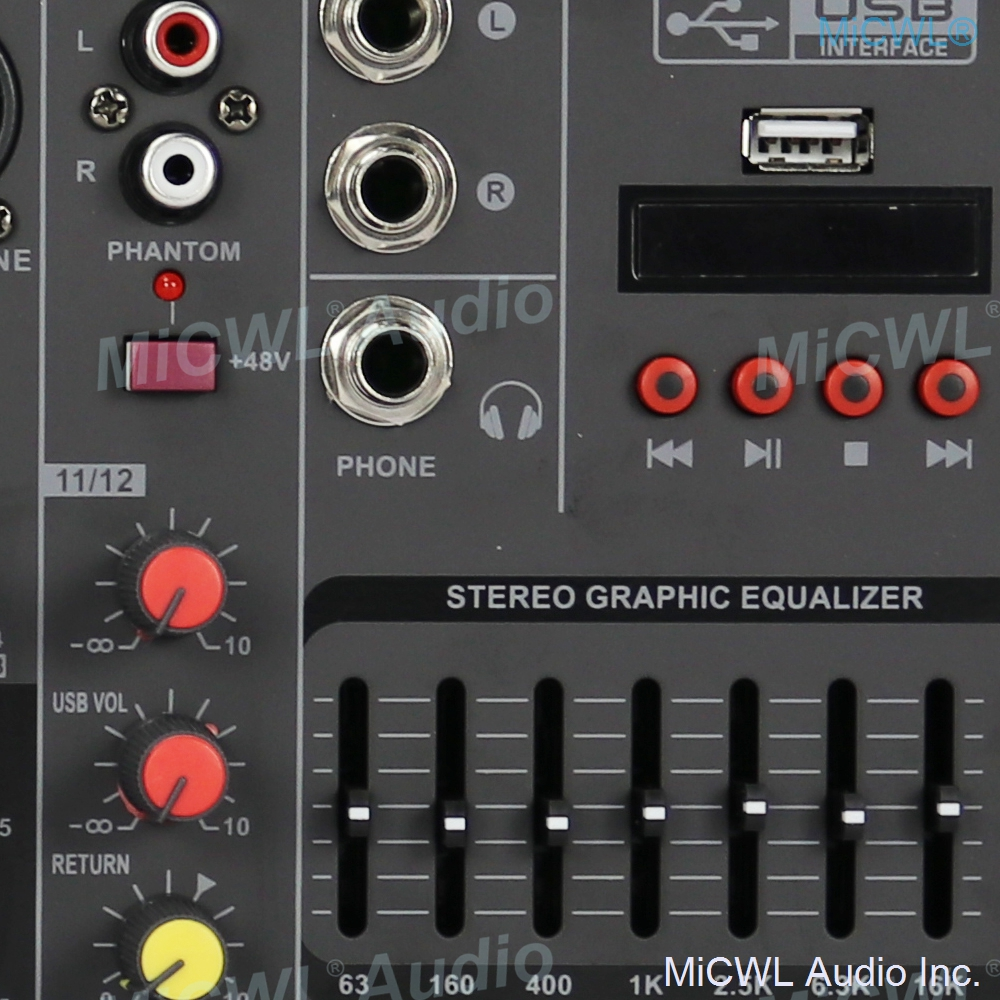 Pro MG12 Bluetooth Portable 12 Channel Audio Mixer Sound Mixing Console USB MP3 7-Band EQualizer DJ Live Mixer MG6 6 Channel