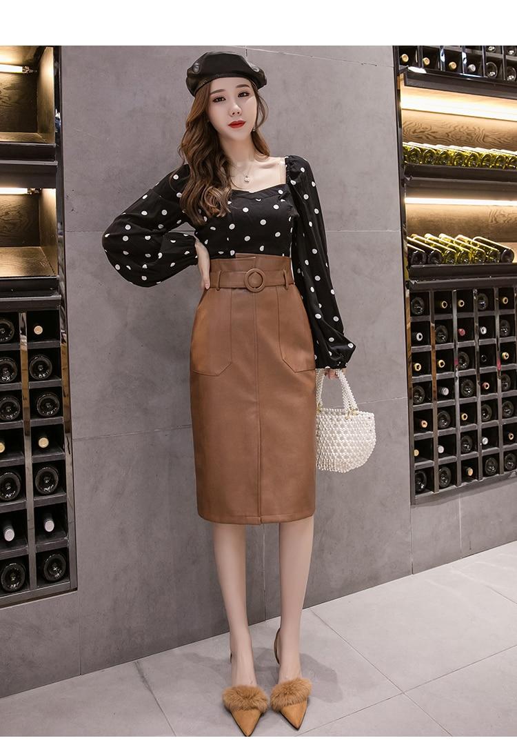 High Waist Knee-Length Wrap Skirts With Pocket Saia Female Autumn Winter Sashes Women PU Leather Sheath Midi Skirts 45%off