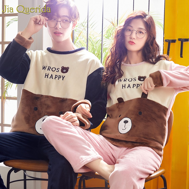 Pajamas For Women Winter Long-sleeves Sleepwear Flannel Soft Warm Teddy Furry Bear Print Pink Pijamas Set Couple Loungewear Suit