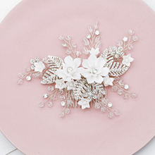 Белый цветок из смолы Свадебная расческа для волос заколка Стразы