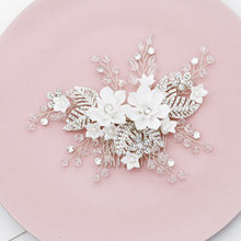 White Resin Flower Bridal Wedding Hair Comb Clip Rhinestone Jewelry Hair Pins for Women Accessories Silver Bride Headpiece Gifts(China)