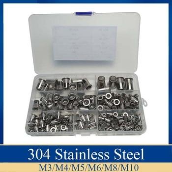 цена на 165Pcs Stainless Steel Rivet Nut M3 M4 M5 M6 M8 M10 Rivnut Flat Head Threaded Rivet Insert Nutsert Cap Rivet Nut