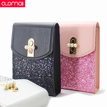 Cell phone pocket woman Ms Phone case for IPhone huawei xiaomi Samsung LG PU Shining Oblique package  bag Black pink silver