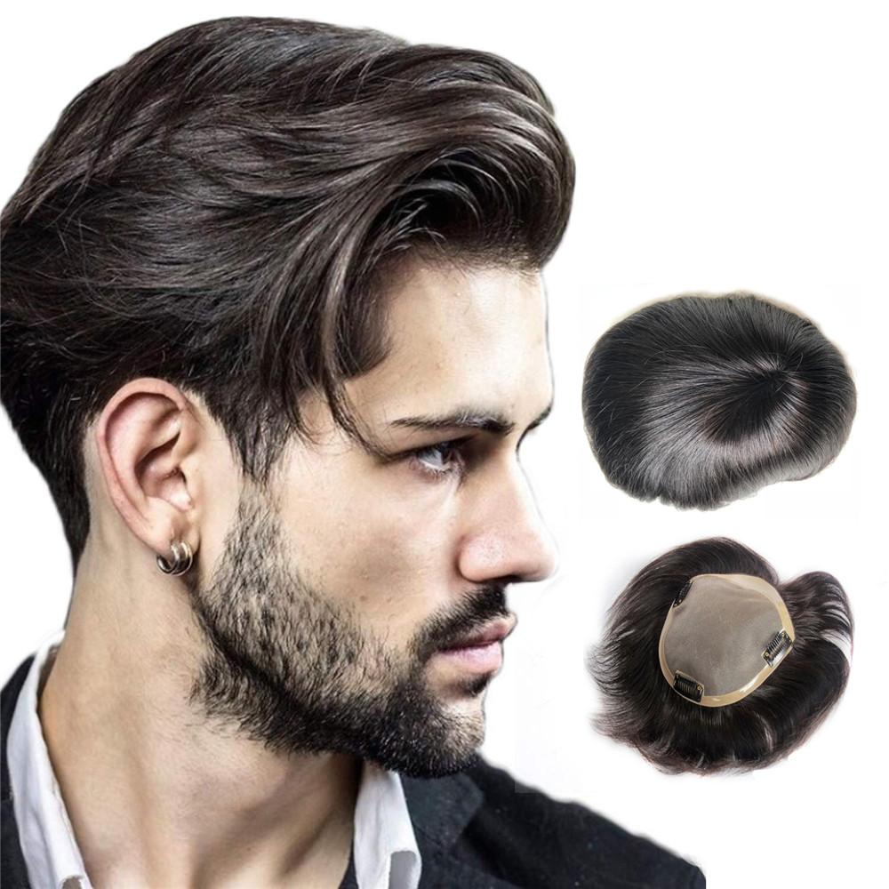 BYMC Human Hair Mens Toupee Mono Toupee Natural Hairline Lace With PU Replacement System With Clips