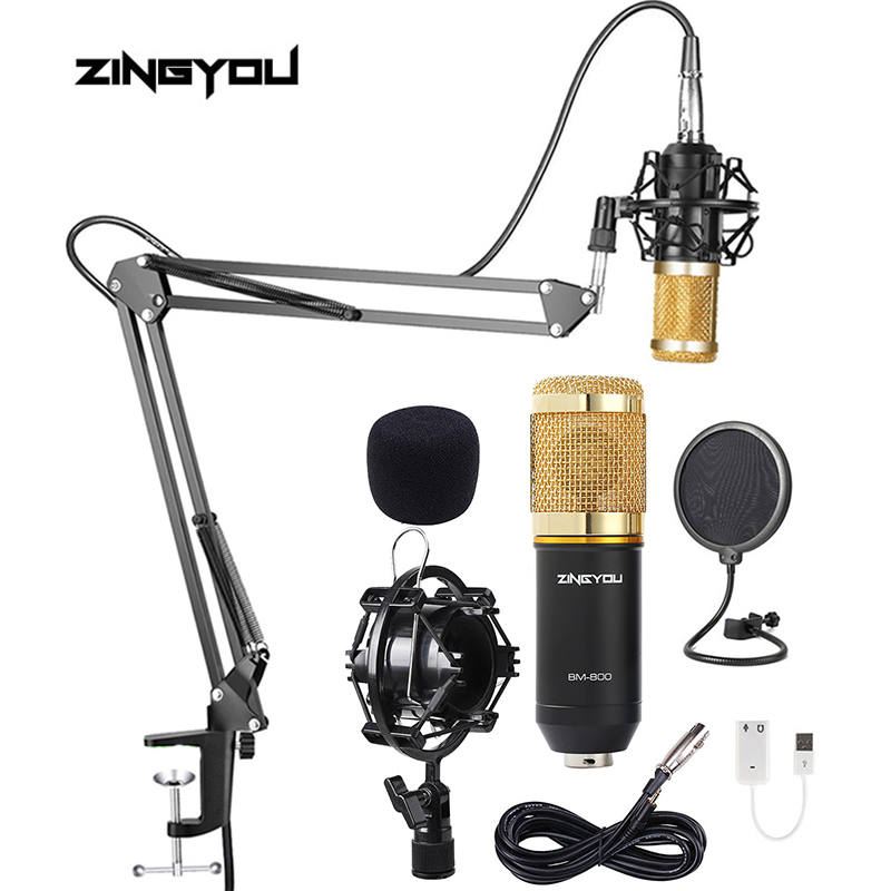 ZINGYOU Professional Bm800 Condenser Microphone Studio Microphone Vocal Recording KTV Karaoke Microphono Set Mic Stand For PC