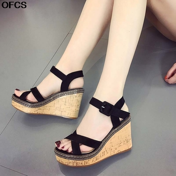 Summer Women Sandals Buckle Flock Fish Mouth Wedge high Heel Platform Open Toes Shoes 35-40