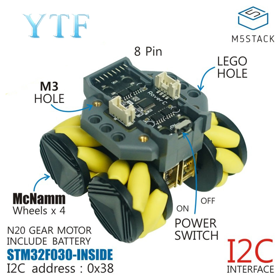M5Stack RoverC Programmable Remote Control Mecanum Omnidirectional Wheel Mobile Robot