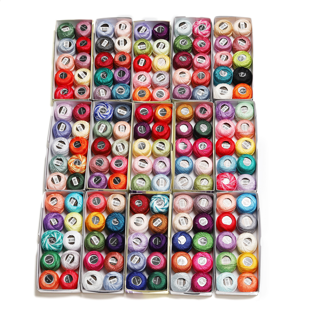 150 colori di Cotone Della Perla Del Ricamo Formato del Filetto 8 Crochet chiacchierino ad ago 5 grammi doppio mercerizzato 100% cotone Egiziano-in Filo da Casa e giardino su  Gruppo 1