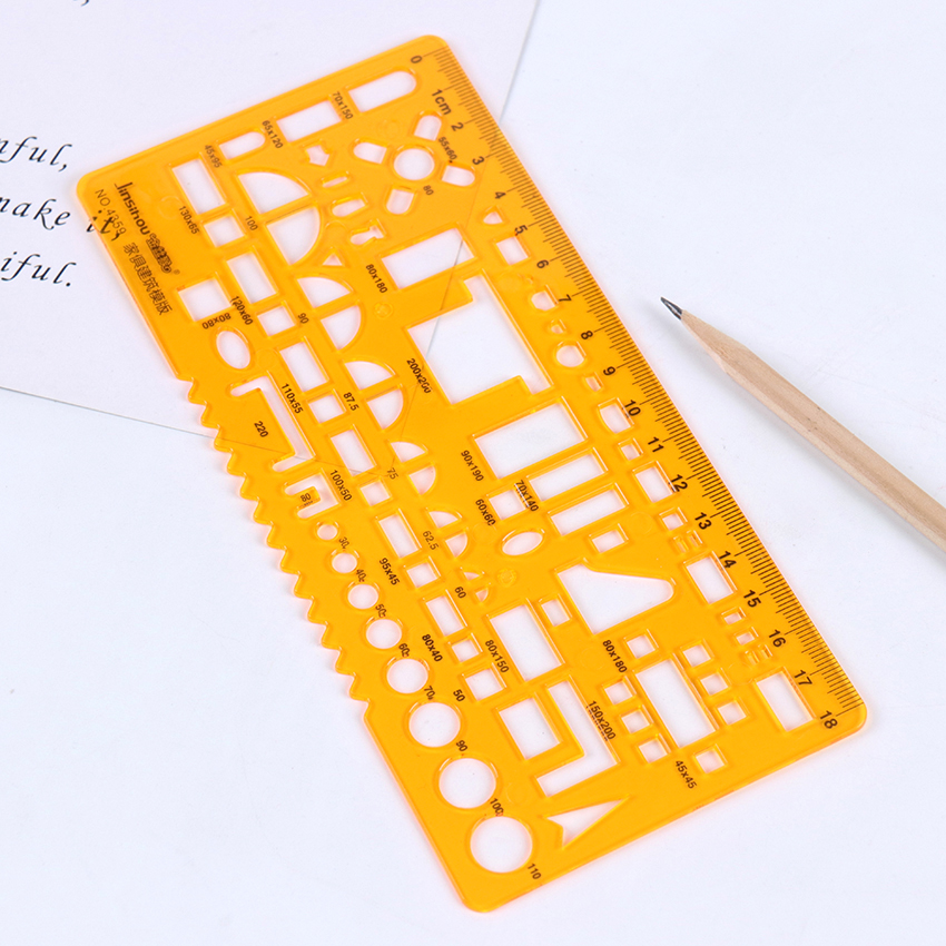 1 PC Plastic Ruler Stencil Measuring Tool For Drawing Many Size Round Circle Geometric Template Ruler Design Drawing Stationery