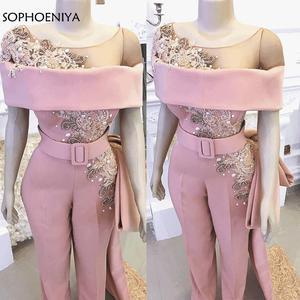 Image 1 - Abendkleider luxo longo sereia rosa frisado cristais calças elegantes para casamentos vestidos de festa à noite robe de soiree