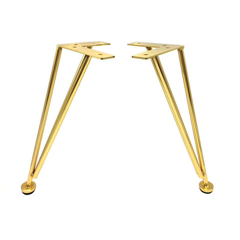 Gold Triangle Furniture Legs Metal Plating Hardware Floor Bracket  Foot For Coffee Table Chair Tv Cabinet Sofa Bed Cabinets