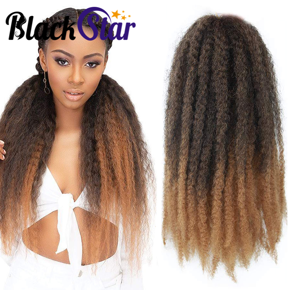Marley Hair Afro Kinky Curly Crochet Hair 18 Inch Long Marley Twist Braiding Hair Ombre Synthetic Marley Braids Hair Extensions
