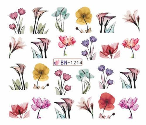 נייל מדבקת מים מדבקות צבעי מים פרח ציפורניים אמנות מחוון רדיד כורכת עיצובים קישוט מניקור אבזרים