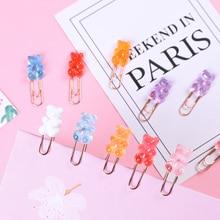 Милые металлические зажимы для бумаги конфетных цветов в виде медведя из розового золота, офисные женские школьные принадлежности, Декорат...