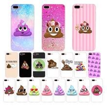 HOUSTMUST Soft cover for iphone 7 8 case 6s 6 plus x xr xs max 10 5s 5 se shell cartoon funny Rainbow Poop Swirl Emoji design