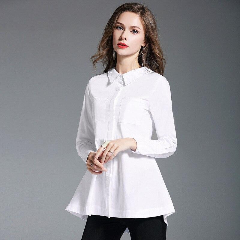 Décontracté lâche femmes chemises 2019 automne nouvelle mode col rabattu Blouse à manches longues coton blanc chemise femmes doux volants hauts