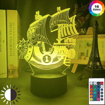 Anime ONE PIECE Thousand Sunny Ship Model Kids Night Light for Bedroom Decor Light Cool Gift for Child Study Room Table Lamp 3d anime one piece thousand sunny pirate ship figure 35cm thousand sunny boat ship pvc action figures toys collectible model toy