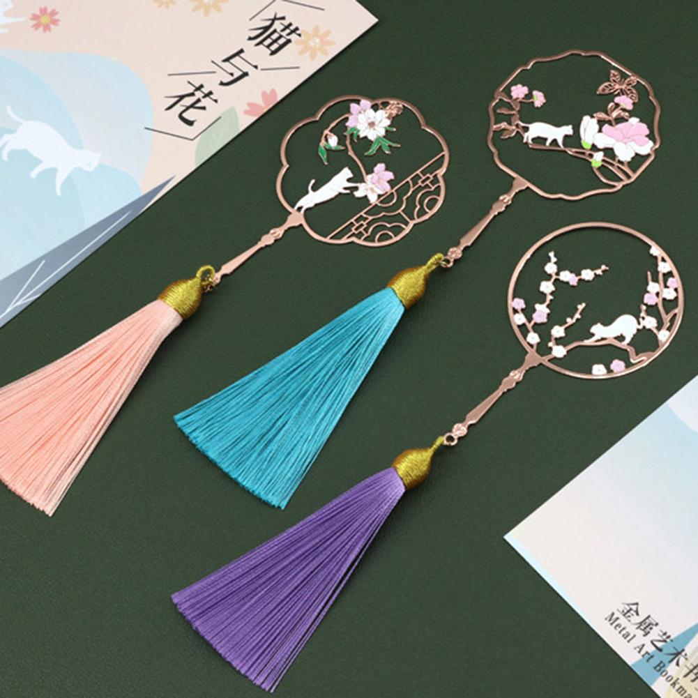 Hollow Cats Flower Pattern Chinese Style Tassel Metal Bookmark School Stationery Gift