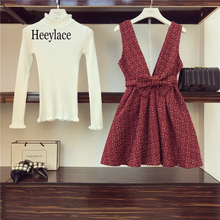 Ladies Brand Knitted Pullover Top And Red Plaid Short Dress Women