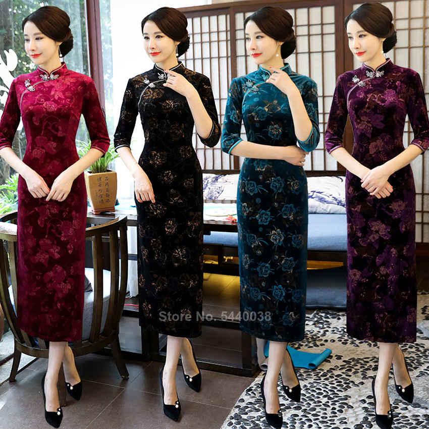 Chinese Traditional Clothing Cheongsams For Women Winter Autumn Velvet Floral Printed Tight Slim Half Sleeve Split Dress Qipao