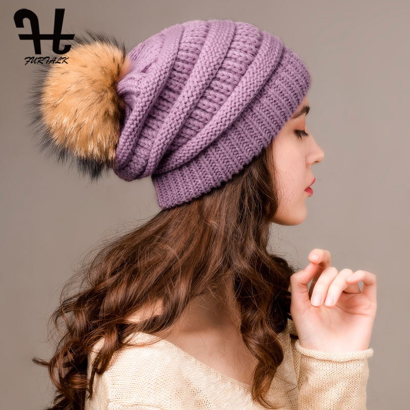 FURTALK Winter Beanie Hat Women Warm Chunky Knitted Slouchy Beanie Hats Ladies Real Fur Pompom Hat Female Winter Cap 2019 New