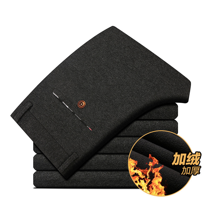 2018 New Style Men Winter Pants With Velvet Sub-Slim Fit Thick Cotton-padded Trousers Men's Youth Korean-style Brushed Casual Pa
