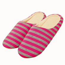 Women Indoor Slippers Winter Warm Striped Flat Shoes Woman Home Bedroom Slides Slippers Slip On Female House Floor Slippers(China)