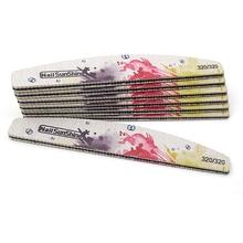 цена на 25pcs/lot Printed Nail File Buffer Block 320/320 Sandpaper Half-Moon Nail File 17.8cm Professional Salon DIY Nail Art Tool #TF27
