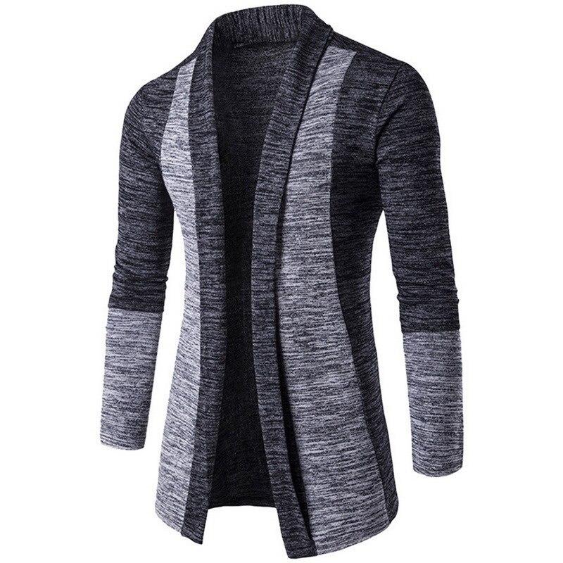 Oeak Men Patchwork Slim Cardigan Autumn Winter Warm Casual Sweaters Long Knitted Turn-down Collar Outerwear Plus Size M-4XL