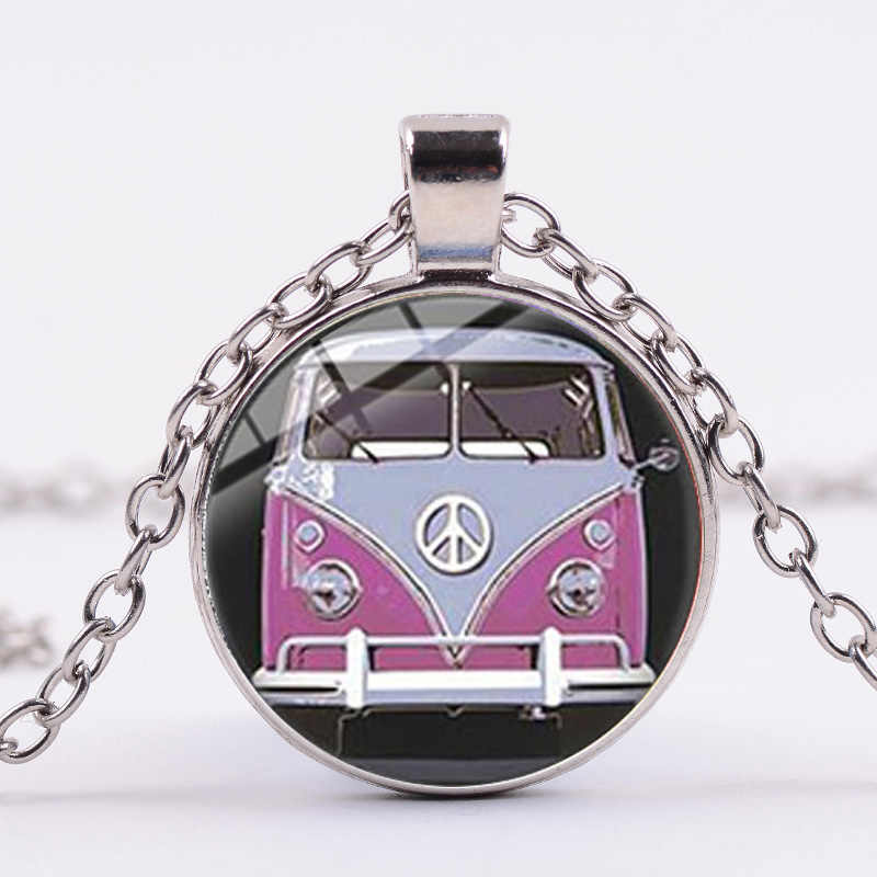 Songda vintage hippie sinal de paz van ônibus colar antigo-moda paz ônibus tema de vidro foto pingente colar feminino masculino colecionadores