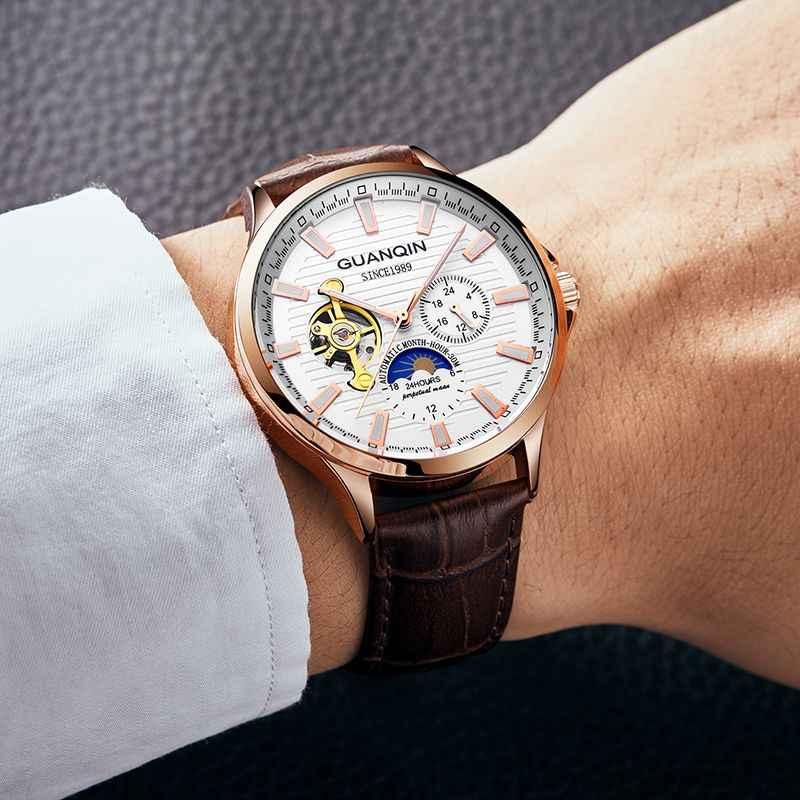 GUANQIN 2019 automatique hommes montres haut de gamme de luxe Tourbillon squelette étanche horloge hommes montre mécanique Relogio Masculino
