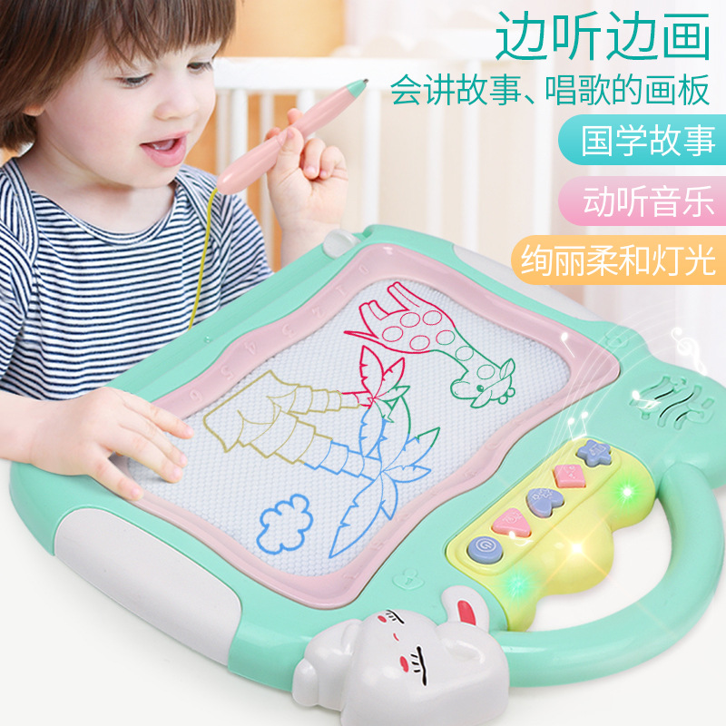 Children Coloured Drawing Writing Board Baby Early Childhood Sound And Light Doodle Board Five In One Magnetic Drawing Board Toy
