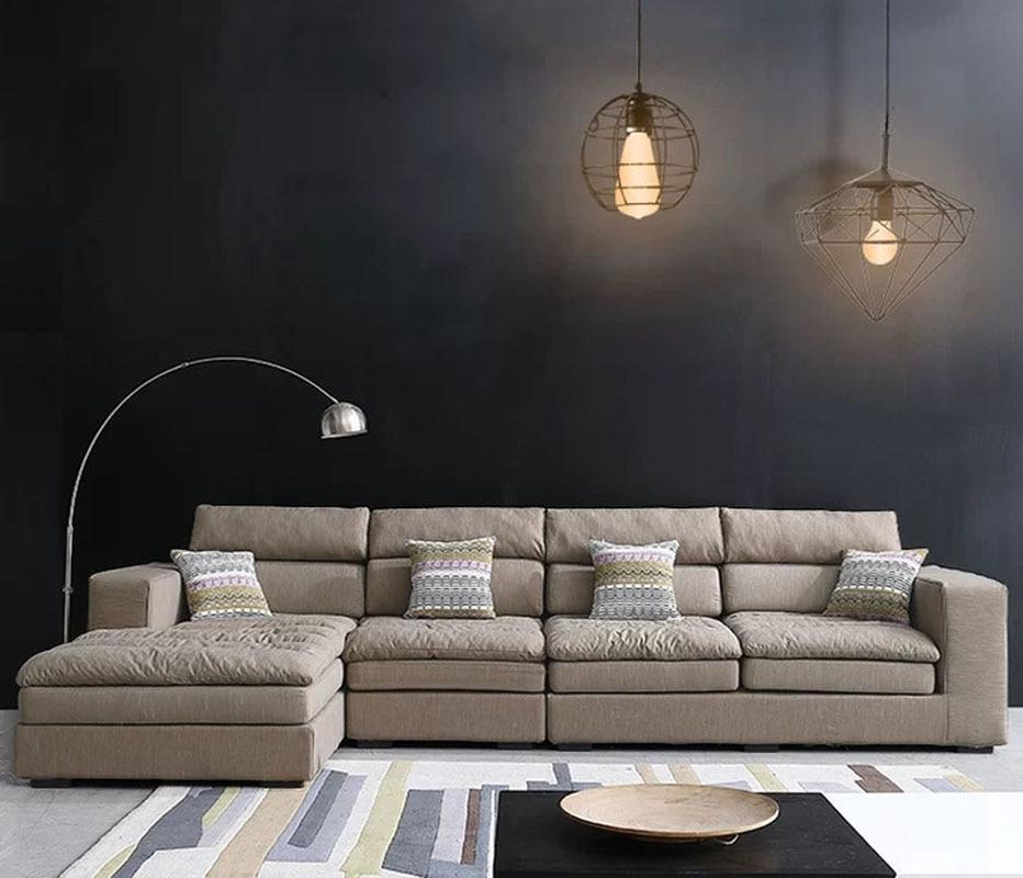 High Quality Living Room Sofa Set Home Furniture Modern Design Cotton Fabric Frame Soft Latex With Sponge L Shape Home Furniture