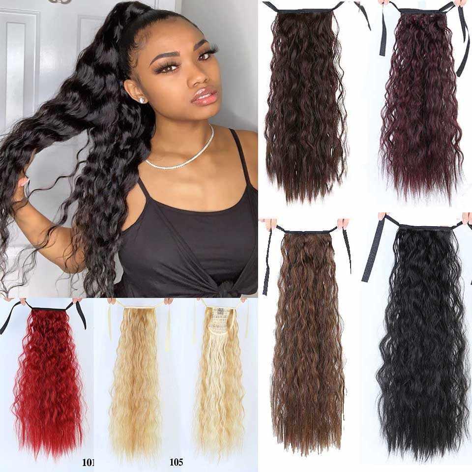 Lupu Afrikaanse Haar Krullend Golvend Paardenstaart Hair Extensions Synthetisch Haar Vrouwen Lange Corn Golvend Haar Accessoires Haarverlenging